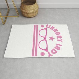 """Pink and funky tee design for """"library Lady"""" Like you! Makes a nice gift for everyone!  Rug"""