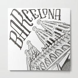 "Barcelona Sagrada Familia ""Architype"" (Architectural Illustration) Metal Print"