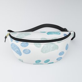 Blue colored paw print background Fanny Pack