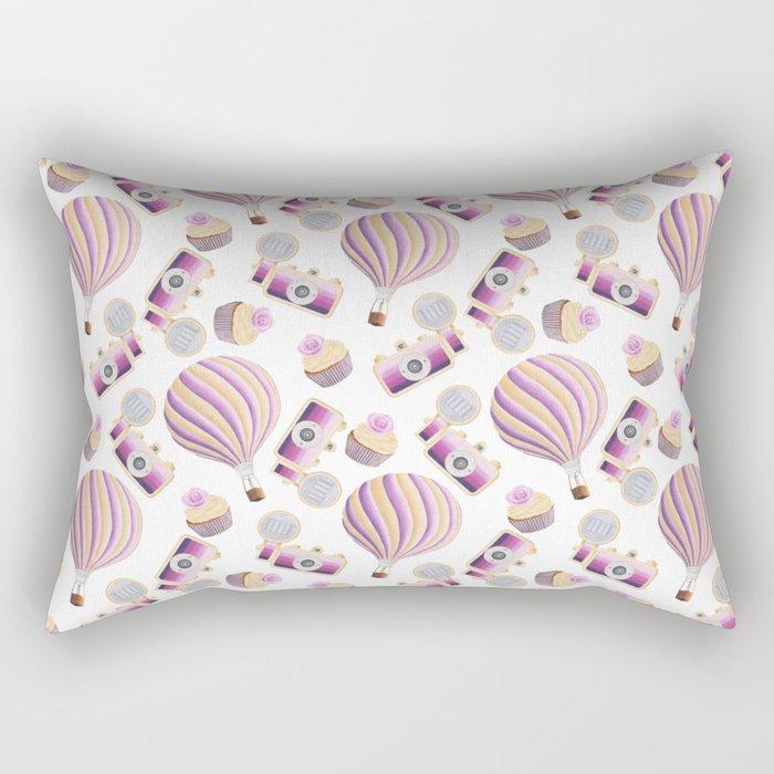 hot-air balloons, cameras and cupcakes Rectangular Pillow