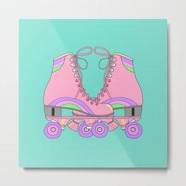 Vintage pink retro roller skates Metal Print