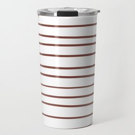Inspired by Dunn Edwards Spice of Life DET439 Hand Drawn Horizontal Lines on White Travel Mug