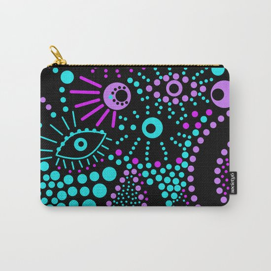 Abstract polka dot purple , black , turquoise . Carry-All Pouch