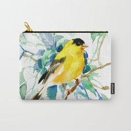American Goldfinch, yellow sage green birds and flowers Carry-All Pouch