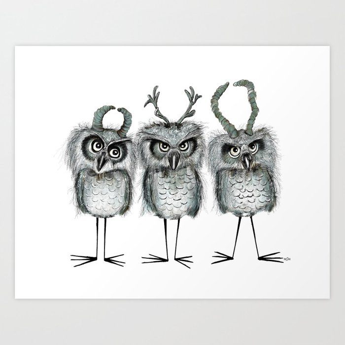Owls with Horns Art Print