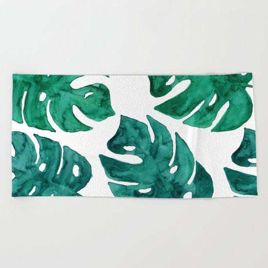 Watercolor Leafs II Beach Towel