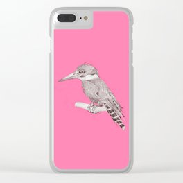 pink kingfisher bird Clear iPhone Case