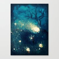 fireflies Canvas Prints featuring Fireflies by Morgan Ofsharick - meoillustration