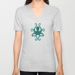 Intricate Teal Blue Octopus Unisex V-Neck
