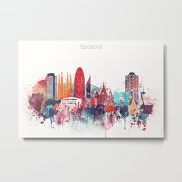 Barcelona Watercolour Skyline Metal Print