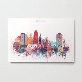 Barcelona Watercolour Skyline Metal Print