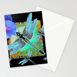 BLUE DRAGONFLIES MORNING GLORIES BLACK ART Stationery Cards