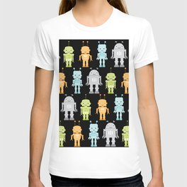 Robots with a black background T-shirt