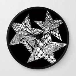 Midnight Zentangle Stars Black and White Illustration Wall Clock