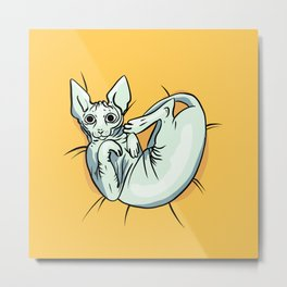 Playful Sphynx Kitty - Curled Up Nude Cat - Wrinkly Nude Cat - Yellow Metal Print