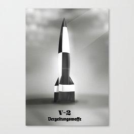 retro space rocket B&W Canvas Print