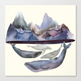 Whales Swiming under the Moutains Canvas Print