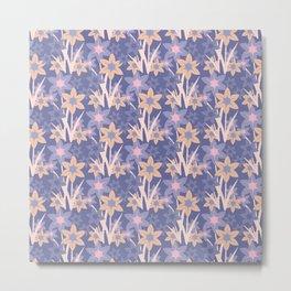 Modern abstract lavender ivory pink floral illustration Metal Print