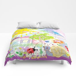My happy world Doodle for children room Nursery home decor Comforters