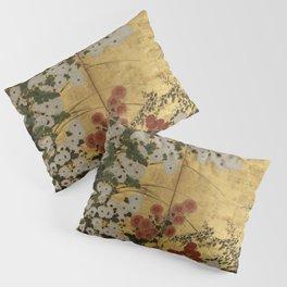 White Red Chrysanthemums Floral Japanese Gold Screen Pillow Sham
