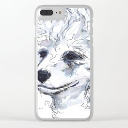 Poodle (portrait for my mom), watercolor Clear iPhone Case