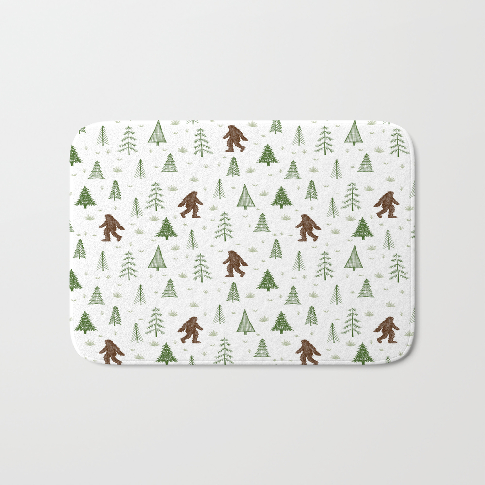 Trees + Yeti Pattern In Color Bath Mat by Staceywalkeroldham BMT8597777