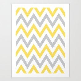Gray & Yellow Chevron Art Print