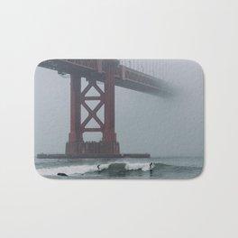 Surfers under Golden Gate Bridge Bath Mat