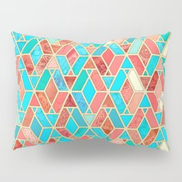 Melon and Aqua Geometric Tile Pattern Pillow Sham