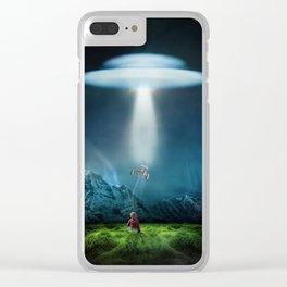 Boy's UFO Encounter Clear iPhone Case
