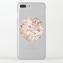 Dusty Rose and Coral Art Deco Marbling Pattern Clear iPhone Case