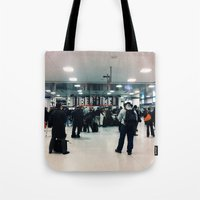 train Tote Bags featuring train  by Anatomy|Geography