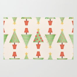 Topiary Christmas Tree Pattern with Stitched Fabric Style Rug