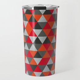 Hot Red and Grey / Gray -  Geometric Triangle Pattern Travel Mug