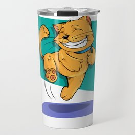 Jumping Golden Brown Cat Travel Mug