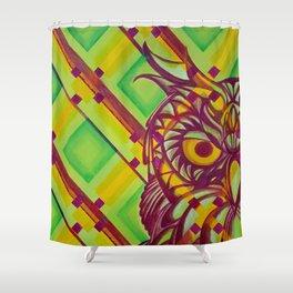 Green Owl Shower Curtain