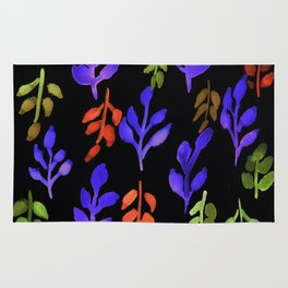 180726 Abstract Leaves Botanical Dark Mode 24 |Botanical Illustrations Rug