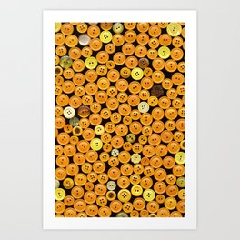 Yellow Buttons Scanograph Art Print