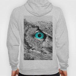 Black and White Great Horned Owl w Aqua Eyes A174 Hoody