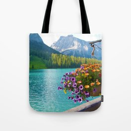 Floral basket, mountain and blue lake Tote Bag