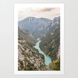 Blue river through the French mountains Art Print