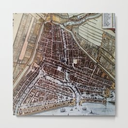 Replica city map of Rotterdam 1652 Metal Print
