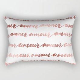 Amour French Love Script Rose Gold Typography Pattern 2 Rectangular Pillow