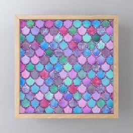 Colorful Pink Glitter Mermaid Scales Framed Mini Art Print