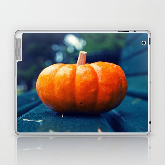 Park bench pumpkin Laptop & iPad Skin
