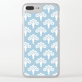 Floral Pattern Pale Blue 243 Clear iPhone Case