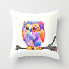 Owl, Bird watercolor painting print, watercolor art Throw Pillow