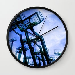 Hydraulic Bucket Lifts Framed By Exquisite Blue Sky Wall Clock