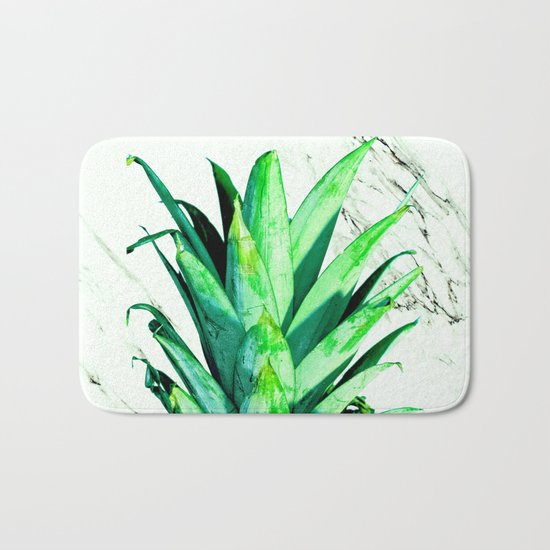 Pineapple Top Black and White Marble Bath Mat