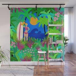 Surfer Girl Tropical Beach And Ocean Waves Wall Mural